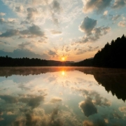 Sunrise over lake, Cesky Les (Bohemian Forest), Czech Republic.