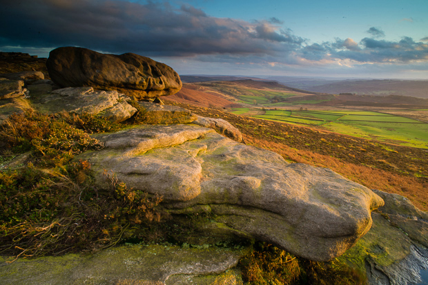 Stanage Edge at sunset