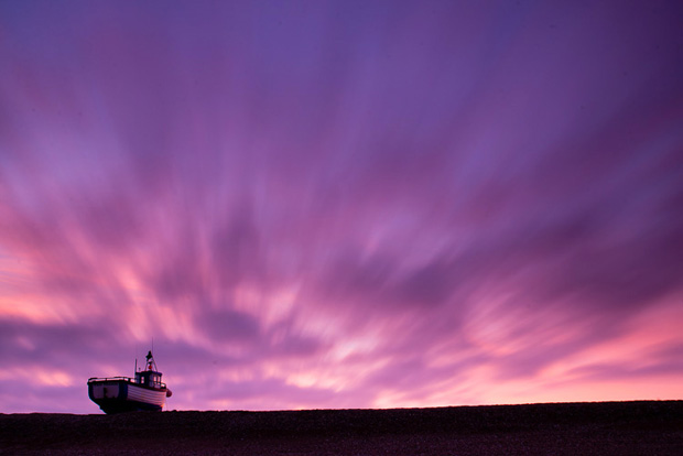 Fishing boat at sunset, Dungeness.