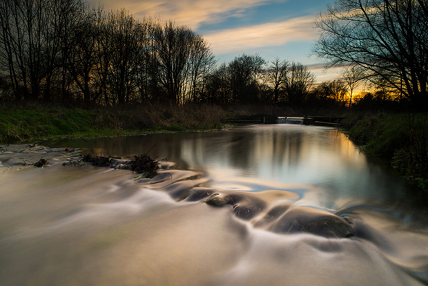 Little Stour at sunset Nikon D600, 20mm f2.8, iso 100, 13 sec. f16, Lee 0.9 ND grad and ProGlass Standard ND.