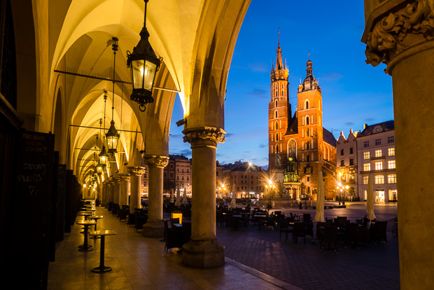 Krakow town square at dawn. Europe's largest.